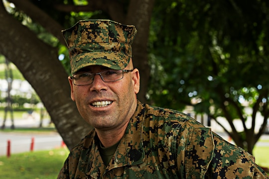 Sgt. Maj. Ernest W. Rose was born in San Jose, Calif. He enlisted in the marine Corps Dec. 26, 1990. Rose was assigned to Combat Logistics Battalion 3 in 2011 aboard Marine Corps Base Hawaii before transferring to Marine Corps Air Station in 2013, and then to Headquarters Battalion in January 2014 as the battalion sergeant major. His personal awards include the navy Commendation Medal with four gold stars, Navy and Marine Corps Achievement Medal with three gold stars, Marine Corps Good Conduct Medal with one silver star and one bronze star. (U.S. Marine Corps photo by Lance Cpl. Matthew Bragg)