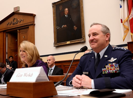 Secretary of the Air Force Deborah Lee James (left) and Air Force Chief of Staff Gen. Mark A. Welsh III answer questions on the Air Force's fiscal 2015 budget request before the House Armed Services Committee March 14, 2014, in Washington, D.C. (U.S. Air Force photo/Scott M. Ash)