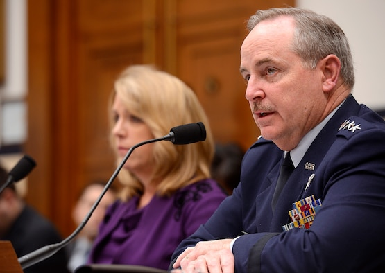 Air Force Chief of Staff Gen. Mark A. Welsh III testify with Secretary of the Air Force Deborah Lee James on the Air Force's fiscal 2015 budget request before the House Armed Services Committee March 14, 2014, in Washington, D.C. (U.S. Air Force photo/Scott M. Ash)