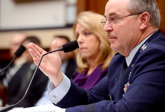 Air Force Chief of Staff Gen. Mark A. Welsh III testify with Secretary of the Air Force Deborah Lee James on the Air Force's fiscal year 2015 budget request before the House Armed Services Committee in Washington, D.C., March 14, 2014.  (U.S. Air Force photo/Scott M. Ash)