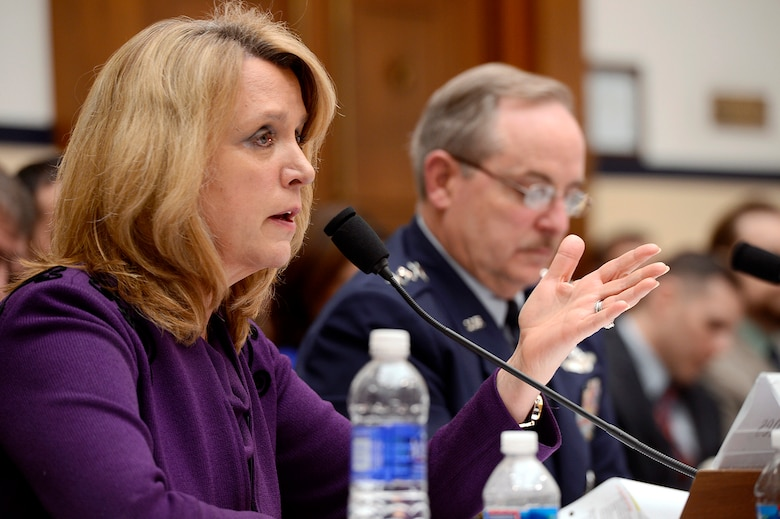 Secretary of the Air Force Deborah Lee James and Air Force Chief of Staff Gen. Mark A. Welsh III answer questions on the Air Force's fiscal year 2015 budget request before the House Armed Services Committee in Washington, D.C., March 14, 2014.  (U.S. Air Force photo/Scott M. Ash)