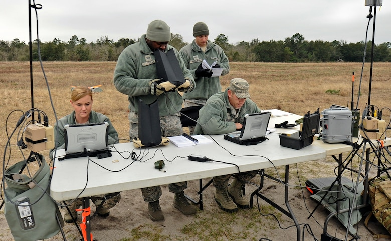 A team from the 1st Special Operations Security Forces Squadron conducts small unmanned aerial system training at Choctaw Field, Fla., March 4, 2014. The Airmen trained on launches, navigational procedures and landings during their live flights. (U.S. Air Force photo/Senior Airman Michelle Patten)