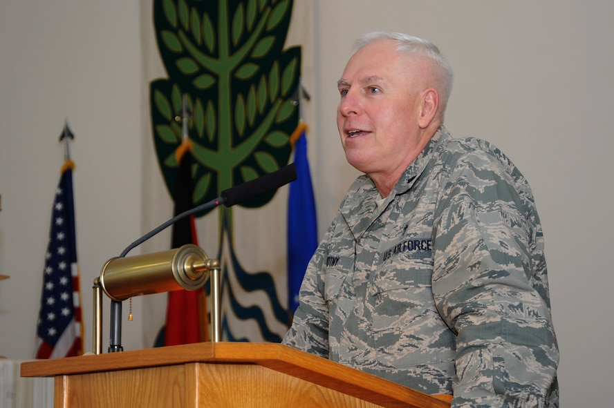 """U.S. Air Force Lt. Col. Richard Novotny, 52nd Fighter Wing Chaplain, speaks at the National Prayer Breakfast March 14, 2014, in the base chapel at Spangdahlem Air Base, Germany. The 52nd Fighter Wing Chaplain Corps sponsored the event, themed """"Prayer for the Future."""" (U.S. Air Force photo by Airman 1st Class Dylan Nuckolls/Released)"""