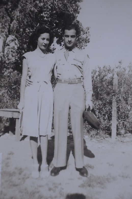 Then 1st Lt. Kenneth Sadick, World War II P-47 Thunderbolt pilot, poses for a photo with his fiance Norma in 1945 in Phoenix. The couple were married for 68 years and had two daughters. (Courtesy photo)