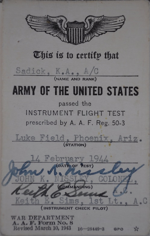 Kenneth Sadick, a first lieutenant in World War II, passed his instrument flight test on Feb. 14, 1944, and was awarded his wings in March of the same year at Luke Field. Sadick returned to Luke Air Force 70 years later for Luke's Open House and Air Show. (Courtesy photo)