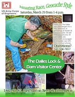 Please join The Dalles Dam Park Rangers for a FREE afternoon of geocaching at Seufert & Patterson parks. All skill levels are welcome. All participants win. Visitors are encouraged to bring their own GPS units or smart phones. Questions? Call 541-506-7857. The Dalles Lock and Dam Visitor Center is off Interstate 84, at exit 87. From exit 87, go east on Brett Clodfelter Way.