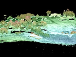USACE created HyperCube to analyze and display multi- and hyper-spectral imagery.  This example shows a partially colorized image generated from a Lidar point cloud at a viewing angle of 60 degrees.