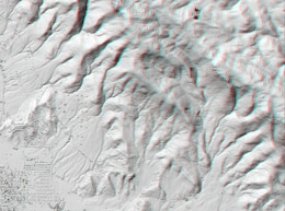 This anaglyphic stereo image uses USACE HyperCube to apply a shaded relief to Digital Elevation Matrix (DEM) data using a Sun elevation of 45 degrees at an azimuth of 135 degrees.