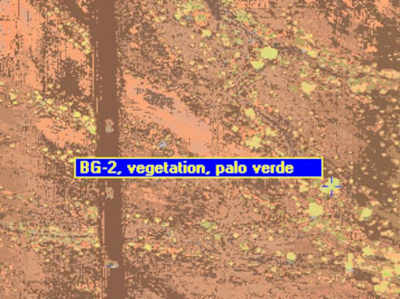 In this example, USACE used HyperCube to create a dynamic display of a library spectral signature superimposed upon the colorized classification of hyperspectral imagery.