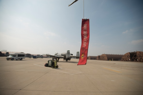 """A """"remove before flight"""" tag hangs off the wing of an A-10 March 17, 2014, at Osan Air Base, Republic of Korea. The mission of Osan is to preserve stability on the peninsula of Korea through constant readiness. (U.S Air Force photo by Staff Sgt. Jake Barreiro)"""