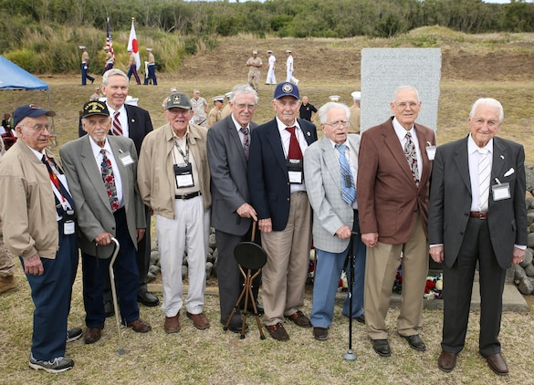 "Eight U.S. veterans who fought in the Battle of Iwo Jima pose for a photo March 19 during the annual Reunion of Honor ceremony. This year's ceremony commemorated the 69th anniversary of the battle on Iwo To, formerly known as Iwo Jima, Japan. ""My hope is that both sides will continue to support and join the annual Joint Reunion of Honor,"" said retired Lt. Gen. Lawrence F. Snowden, ""so that the families of those who served here will have the opportunity to honor their loved ones for their service to their nations and the opportunity to express their continuing love to those who paid the supreme price of giving their lives here."" (U.S. Marine Corps photo by Cpl. Jose D. Lujano/Released)"