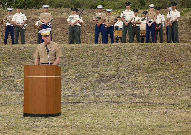"Gen. James F. Amos, commandant of the Marine Corps, gives a speech March 19 during the annual Reunion of Honor ceremony. This year's ceremony commemorated the 69th anniversary of the battle on Iwo To, formerly known as Iwo Jima, Japan. ""Whether you came here today from America or Japan,"" said Amos, ""we find similarities in the warriors that that met on this battlefield 69 years ago. The same virtues of honor, discipline and devotion were embodied by all. Their iconic 'Uncommon Valor' became legendary in history books, and created ethos that has transcended generations."" (U.S. Marine Corps photo by Cpl. Jose D. Lujano/Released)"