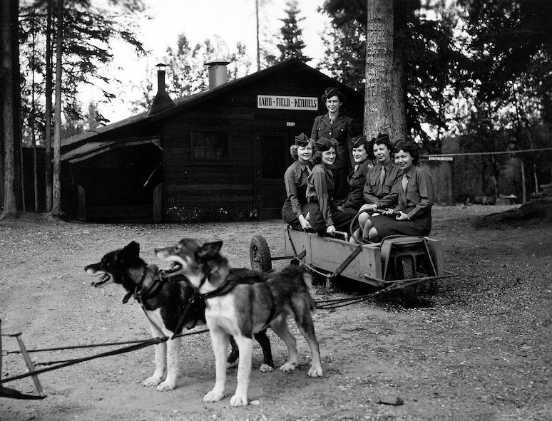 Women's Army Corps members pose for a photo at the Ladd Field kennels circa 1945. (Photo courtesy of Fort Wainwright archives)