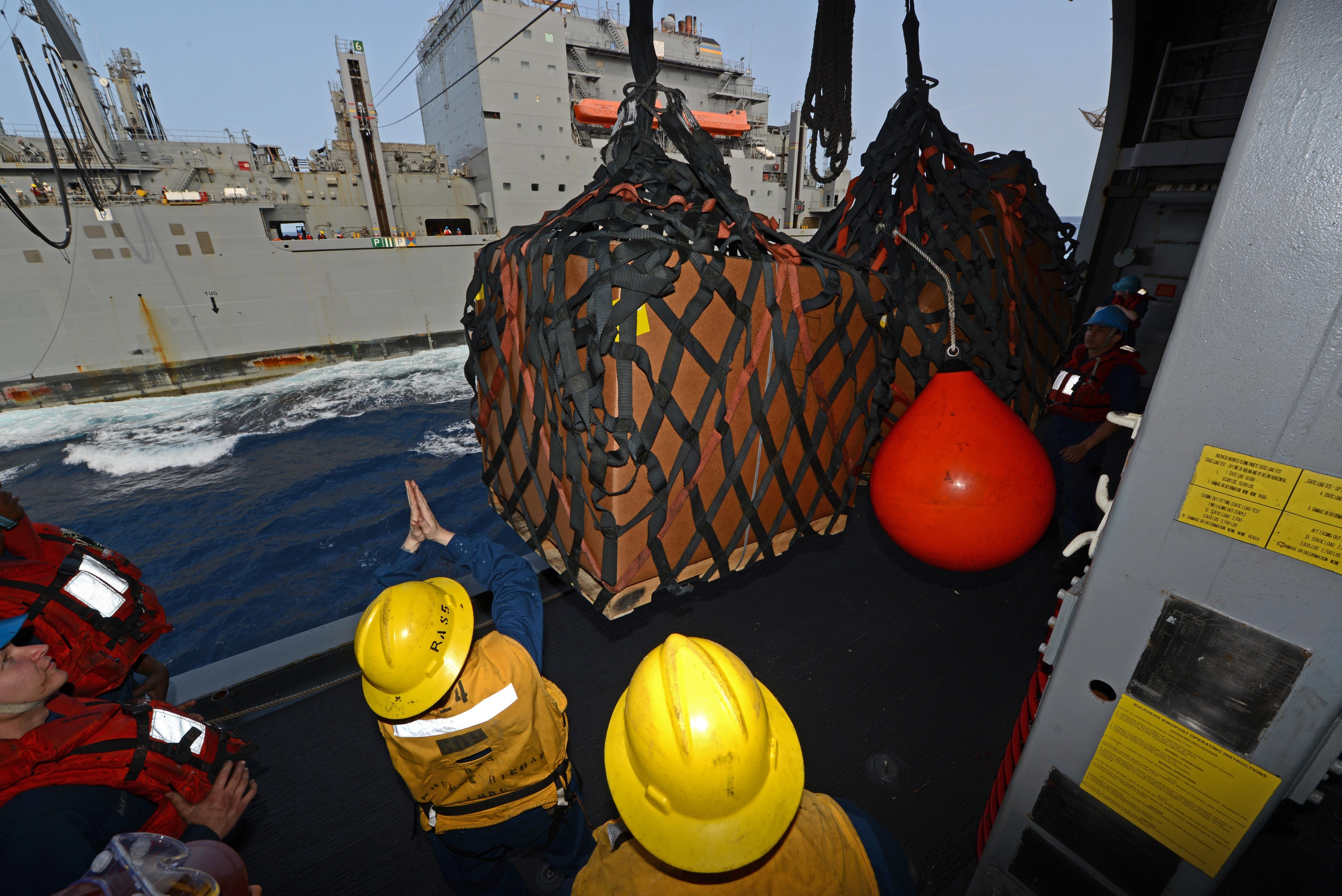 Sailors receive supplies from Military Sealift Command Dry