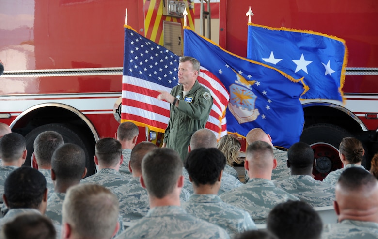 U. S. Air Force Lt. Gen. Tod Wolters, 12th Air Force commander, speaks to the all call group about his operational styles of trust, training and teamwork in the fire station at Soto Cano Air Base, Honduras March 20, 2014.  (Photo by U. S. Air National Guard Capt. Steven Stubbs)