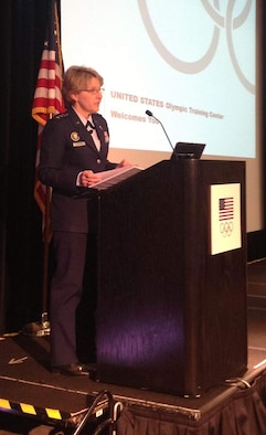 Lt. Gen. Michelle D. Johnson speaks to Colorado Springs leaders on communication and media relations during a University of Colorado at Colorado Springs leadership conference March 13. (U.S. Air Force Photo/Amber Baillie)