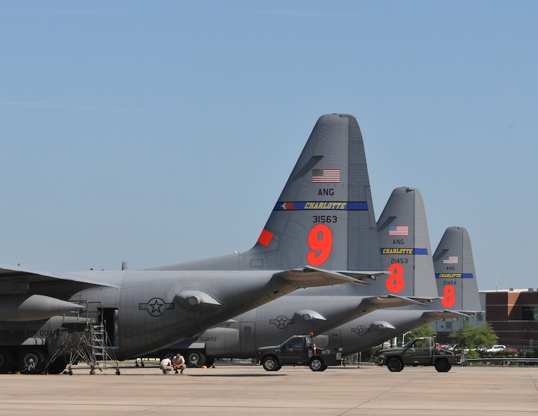 Airmen from the 145th Maintenance Squadron, North Carolina Air National Guard, keep C-130 Hercules aircraft maintained and prepared to be mission ready at a moment's notice.  On July 16, 2013, two 145th Airlift Wing C-130 aircraft equipped with Modular Airborne Fire Fighting Systems (MAFFS 8 and 9) are standing by ready to help U.S. Forest Service and firefighters save lives and property.  All C-130 aircraft, including the spare MAFFS 8, are maintained at the North Carolina Air National Guard Base, Charlotte-Douglas Intl. Airport. (U.S. Air National Guard photo by Master Sgt. Patricia Moran, 145th Public Affairs/Released)