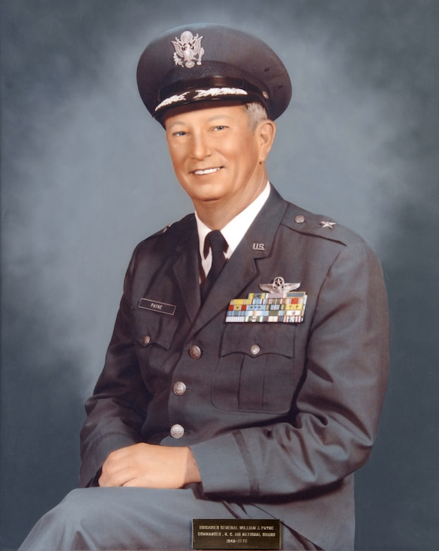 U.S. Air Force Lt. Col. William J. Payne, commander of North Carolina Air National Guard from March 15, 1948 until his retirement in 1976. Payne was assigned as the Assistant Adjutant General, Air and promoted to the rank of Brigadier General in 1961.  NCANG was established March 15, 1948 as the 156th Fighter Squadron, the oldest unit of the North Carolina Air National Guard. It was federally recognized and activated at Morris Field, near Charlotte Douglas Intl. airport and was equipped with F-47D Thunderbolts. Its mission was the air defense of the state.