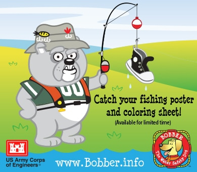 """Fishing is Best in a Life Vest"" coloring sheets and posters are now available from the Bobber the Water Safety Dog Website. Catch your fishing poster and coloring sheet today as they will only be available for a limited time."