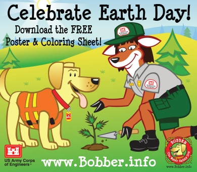 Celebrate Earth Day tomorrow with a Bobber the Water Safety Dog Earth Day poster and coloring sheet from the National Operations Center for Water Safety.