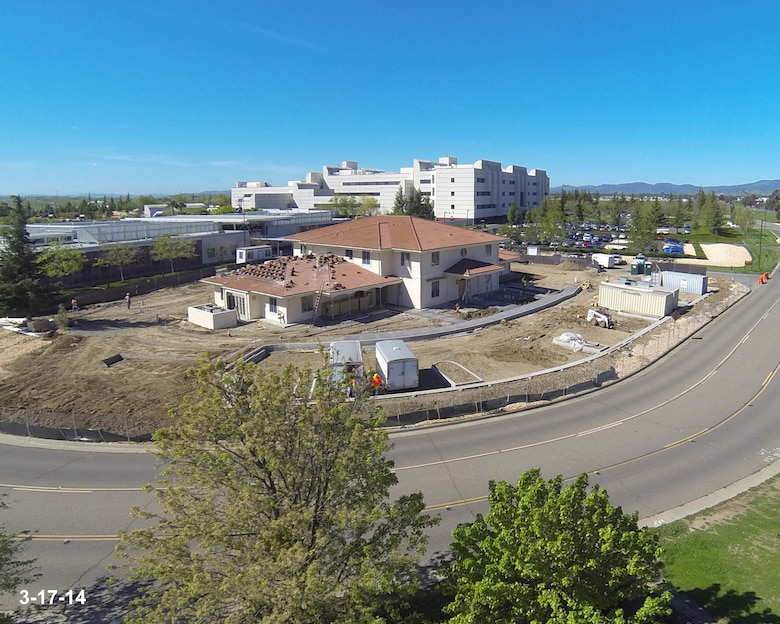 A point-of-view aerial view of Fisher House II under construction, as seen from the DJI Phantom 1 aerial multirotor platform with GoPro H3 sports camera operated by Gil Gardner, 60th Medical Group medical multimedia manager. (Courtesy photo)
