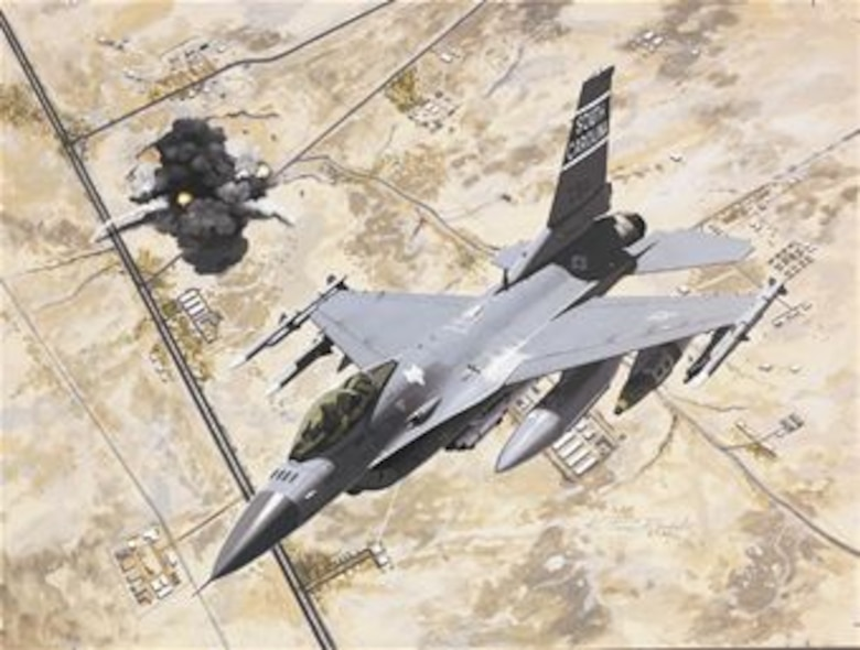 """U.S. Air Force F-16s belonging to the South Carolina Air National Guard's 169th Fighter Wing were forward deployed to Al Udeid Air Base, Qatar and were the """"first in"""" to provide Suppression of Enemy Air Defenses for the the first strikes of Operation Iraqi Freedom. (U.S. Air National Guard graphic RELEASED)"""