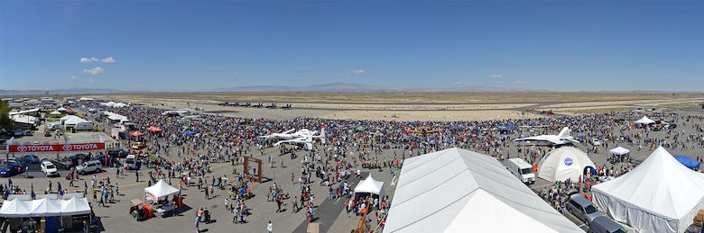 Panorama of the 2014 Los Angeles County Air Show held Mar. 21 and 22 at Fox Field in Lancaster, Calif. Stitched from four separate images. (U.S. Air Force photo by Jet Fabara)