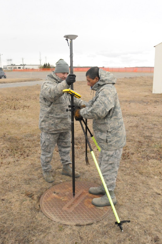 Airmen from the 253rd Combat Communications Squadron gather real-world data on the infrastructure of Otis Air National Guard Base during a GeoBase class on January 21, 2014. (National Guard photo by Master Sgt. Aaron Smith/Released)