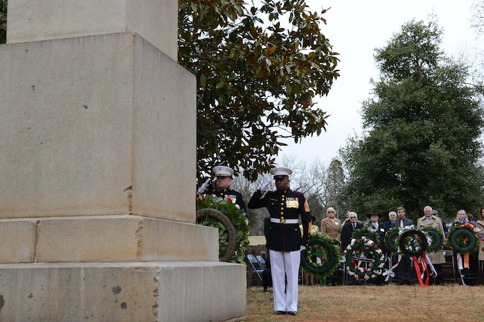 Sgt. Maj. Mark Byrd, right, and Col. David Maxwell, each render a salute at the grave of former president James Madison after placing a presidential wreath in his honor on March 16, 2014. Maxwell, Marine Corps Base Quantico's base commander, was selected as President Barack Obama's surrogate to lay the wreath in his stead.