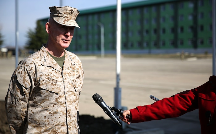 United States Marine Corps Lt. Gen. Richard Tryon, commander of U.S. Marine Corps Forces Command and U.S. Marine Corps Forces, Europe, speaks to the local press regarding the departure ceremony for the Georgian Special Mountain Battalion and 23rd Bn., along with a detachment of Marines from Georgian Liaison Team 12, who are deploying to Afghanistan as part of the International Security Assistance Force, March 20, 2014. Tryon visited Georgia to tour the Georgian National Defense Academy and to attend the departure ceremony. (Official Marine Corps photo by Lance Cpl. Scott W. Whiting, BSRF PAO/ Released)