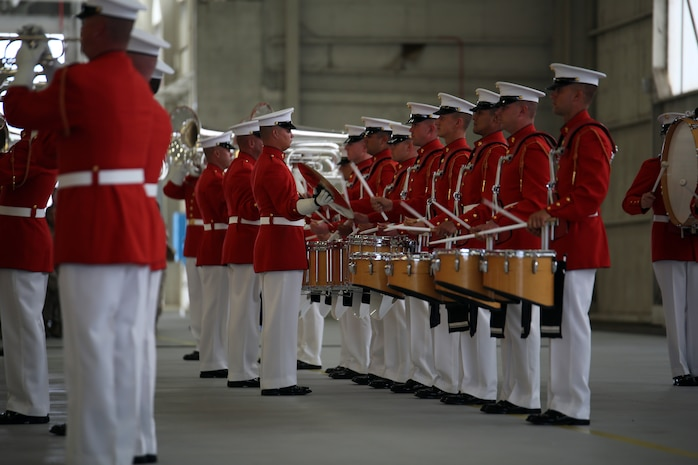 The world-renowned Marine Corps Color Detachment performs at Marine Corps Air Station Beaufort, March 18. The detachment is composed of three performing ceremonial units from Marine Barracks, Washington, D.C.: the Marine Corps Drum and Bugle Corps, the Marine Corps Silent Drill Platoon, and the Marine Corps Color Guard. Each year this highly skilled unit travels worldwide to demonstrate the discipline and professionalism of United States Marines.
