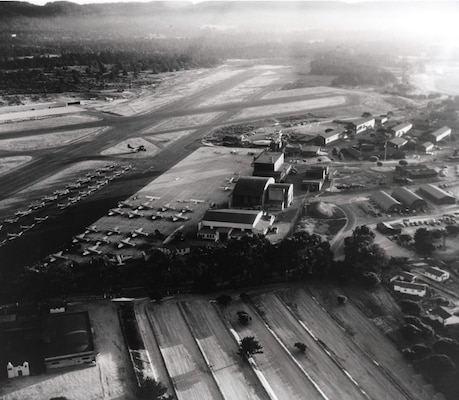 The Sacramento District has completed an $18 million groundwater cleanup and environmental restoration project at the former Naval Auxiliary Air Station in Monterey, Calif., (shown circa 1945) about 15 years and $4.5 million ahead of schedule.