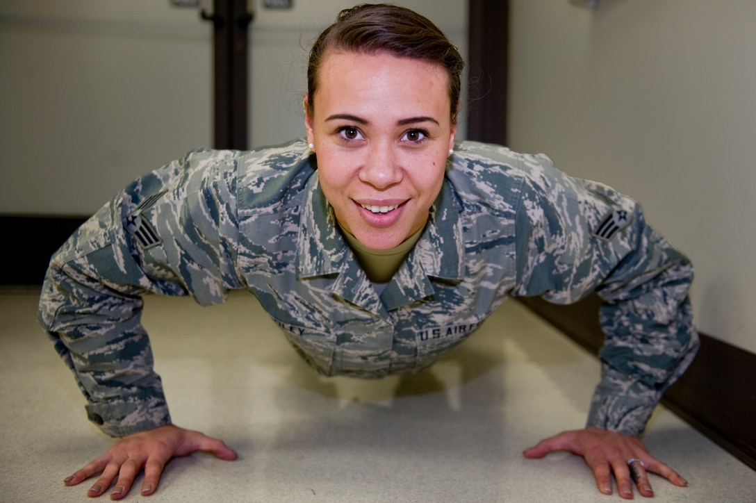 Senior Airman Amber Coley began her military career as a member of the U.S. Air Force Honor Guard, setting the standard for discipline and military professionalism.  Now, as a physical therapist in the 4th Medical Operations Squadron, Coley brings the same standard to her patients and her squadron.  (U.S. Air Force photo/Airman 1st Class Brittain Crolley)