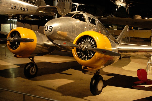 DAYTON, Ohio -- Curtiss AT-9 Jeep/Fledgling in the World War II Gallery at the National Museum of the United States Air Force. (U.S. Air Force photo)