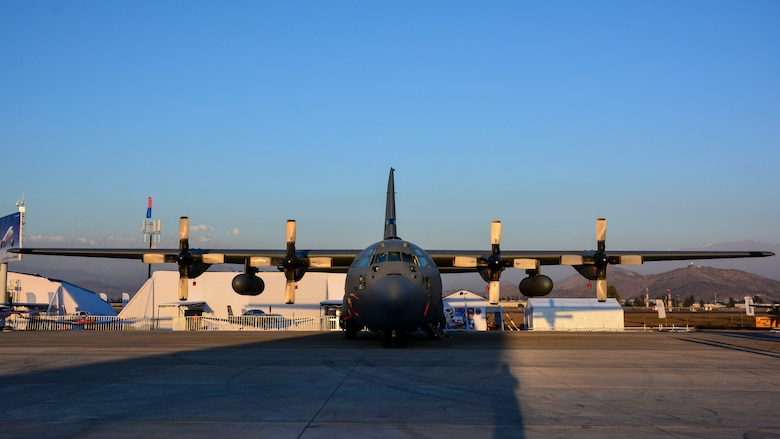 A U.S. Air Force C-130 Hercules sits on the ramp at the FIDAE airshow in Santiago, Chile, March 24. Nearly 60 U.S. airmen are participating in subject matter expert exchanges with Chilean air force counterparts during the week of FIDAE, and as part of the events will host static displays of the C-130 Hercules and F-16 Fighting Falcon during the FIDAE Air Show in Santiago, March 25 through 30. The exchanges, conducted regularly throughout the year, involve U.S. Airmen sharing best practices and procedures to build partnerships and promote interoperability with partner-nations throughout South America, Central America and the Caribbean. (U.S. Air Force photo by Capt. Justin Brockhoff/Released)