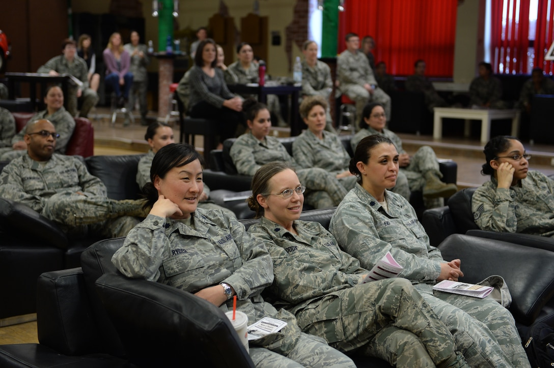Members from Spangdahlem Air Base, Germany, gather for a panel discussion event in honor of Women's History Month at the Brick House March 20, 2014. This event allowed audience members to question the women of the panel on career successes and failures, advice, and personal experiences. (U.S. Air Force photo by Senior Airman Alexis Siekert/Released)