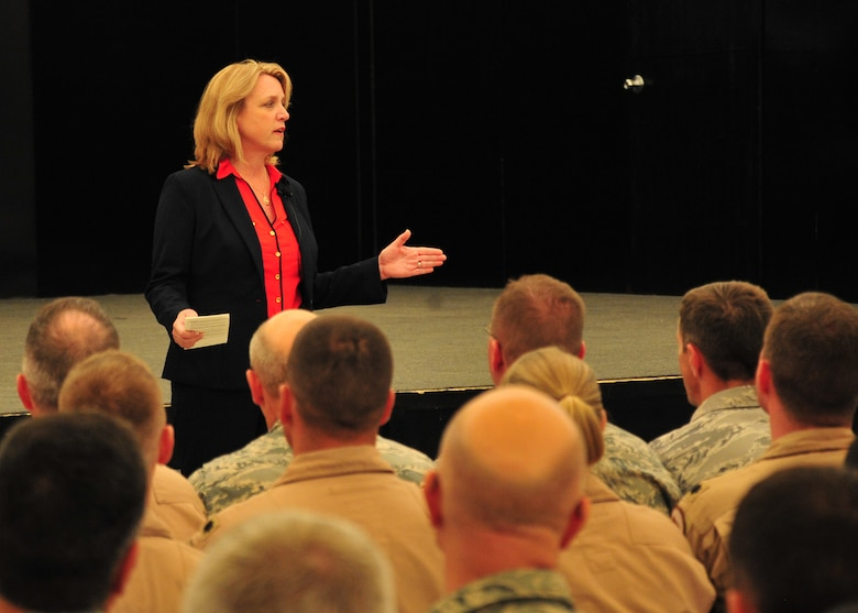 Secretary of the Air Force Deborah Lee James speaks during an Airmen's call at the 380th Air Expeditionary Wing March 19, 2014, at an undisclosed location in Southwest Asia. During the Airmen's call, James spoke to the audience about her career history and leadership experience, priorities, challenges the Air Force is facing, and core values. (U.S. Air Force photo/Staff Sgt. Michael Means)