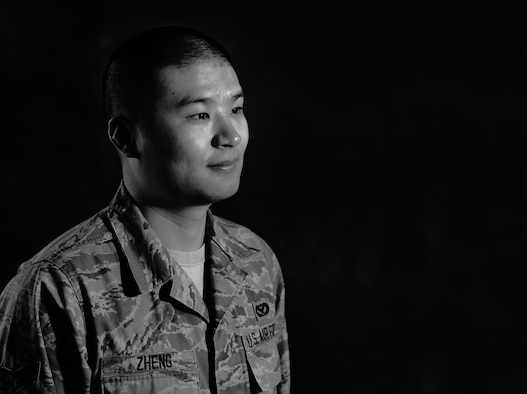 Airman 1st Class Xing Zheng traveled more than 7,964 miles from his hometown of Fuzhou, China, to be an American citizen. After spending the first 20 years of his entire life in the capital of one of the largest cities in the Fujian province in China, Zheng, with his father and sister, left the life he knew and started a new chapter in New York City. Zheng is a 633rd Civil Engineering Squadron engineer technician at Langley Air Force Base, Va. (U.S. Air Force photo illustration/Airman 1st Class Victoria H. Taylor)
