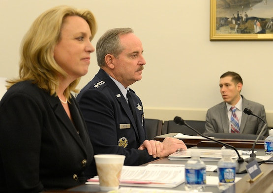 Secretary of the Air Force Deborah Lee James and Air Force Chief of Staff Gen. Mark A. Welsh III testify on the Air Force posture for fiscal year 2015 before the House Appropriations subcommittee on defense in Washington, D.C., March 26, 2014.  (U.S. Air Force photo/Scott M. Ash)