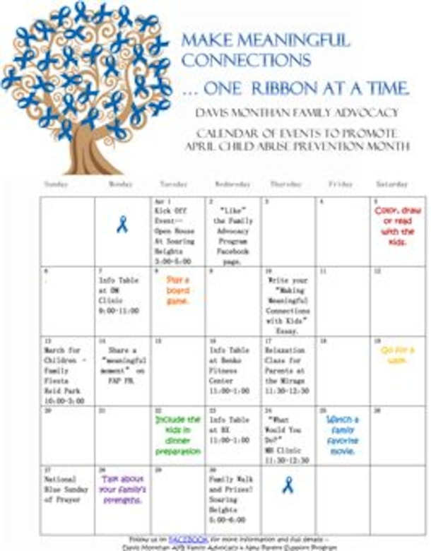 Davis-Monthan Family Advocacy Calendar of Events to Promote April Child Abuse Prevention Month(Courtesy Graphic)