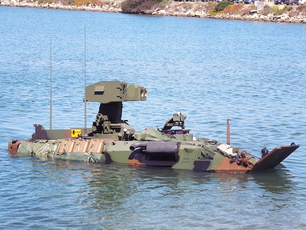 A Light Armored Vehicle Anti-Tank prototype is given a swim test at the Amphibious Vehicle Test Branch at Camp Pendleton, Calif. LAV-ATs are in the midst of developmental tests as part of their modernization program at various sites throughout the country.