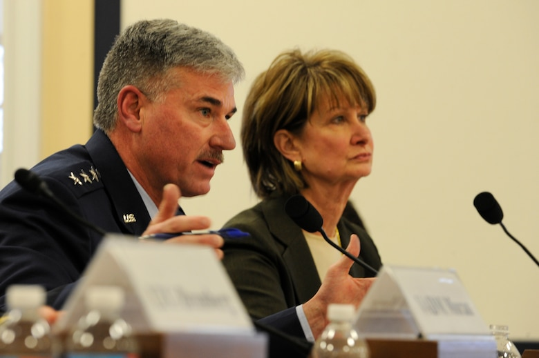 Lt. Gen. Sam Cox, Air Force deputy chief of staff for manpower, personnel and services, testifies before the House Armed Services Committee military personnel subcommittee, in Washington, D.C., March 26, 2014. (U.S. Air Force photo Staff Sgt. Carlin Leslie)