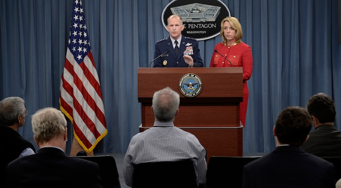 Secretary of the Air Force Deborah Lee James and Lt. Gen. Stephen Wilson provide updates on the Malmstrom Air Force Base, Mont., test compromise investigation findings to the Pentagon Press Corps March 27, 2014, in Washington, D.C. Air Force leaders discussed personnel accountability and the action plan to improve the nuclear enterprise. Wilson is the Global Strike Command commander. (U.S. Air Force photo/Scott M. Ash)