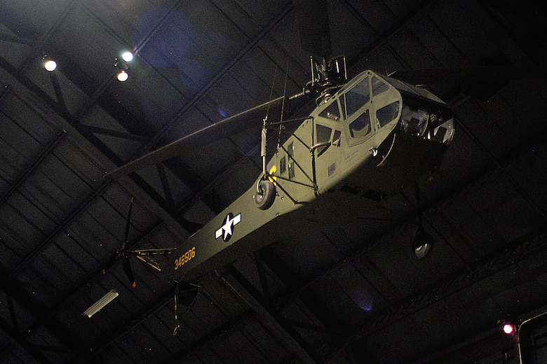 Sikorsky R-4B in the World War II Gallery at the National Museum of the United States Air Force. (U.S. Air Force photo)
