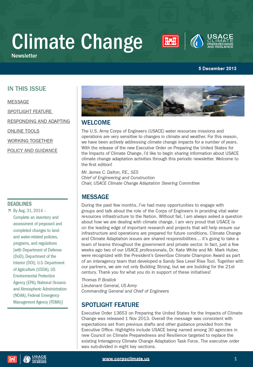 USACE Climate Change E-Newsletter Debuts > Institute for Water Resources > News Stories