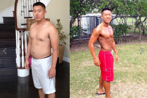 Airman 1st Class Samuel Hahn poses for a photo in September 2014, left, and in March 2014, right, at Laughlin Air Force Base, Texas. After failing a physical training test in September, Hahn significantly changed his diet, sleeping schedule and workout routine, eventually competing and placing second in Musclemania All Forces Men's Physique category. (Courtesy photo)