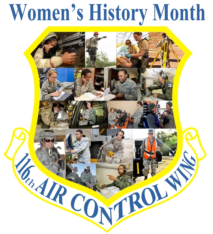 The 116th Air Control Wing (ACW), Georgia Air National Guard, celebrates Women's History Month with a collage of photos showing female Airmen in action, Robins Air Force Base, Ga., March 28, 2014. The photo collage represents a portion of the women that contribute to every group responsible for the mission success of the 116th ACW. (U.S. Air National Guard photo illustration by Master Sgt. Roger Parsons/Released)(This image was created by combining a graphic image with photos to create a collage)