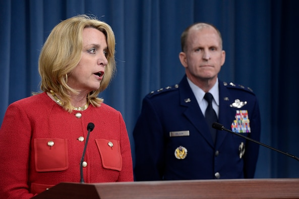 Secretary of the Air Force Deborah Lee James and Lt. Gen. Stephen Wilson, commander, Global Strike Command, provide updates on the Malmstrom Air Force Base, Mont., test compromise investigation findings to the Pentagon Press Corps, in Washington, D.C., March 27, 2014.  Air Force leaders discussed personnel accountability and the action plan to improve the nuclear enterprise.  (U.S. Air Force photo/Scott M. Ash)