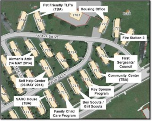 "The 36th Civil Engineer Squadron Self-Help Center moved to a new location in base housing May 2. The new location is in the new ""Town Center"" concept for housing. (Courtesy graphic)"