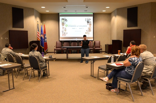 MCGHEE TYSON AIR NATIONAL GUARD BASE, Tenn. - Nicole D. Wicker, center, prevention coordinator for Blount County Children's Advocacy Center, facilitates the Stewards of Children, Adult Child Sexual Abuse Prevention Program here, April 30, 2014 at the I.G. Brown Training and Education Center. (U.S. Air National Guard photo by Master Sgt. Kurt Skoglund/Released)